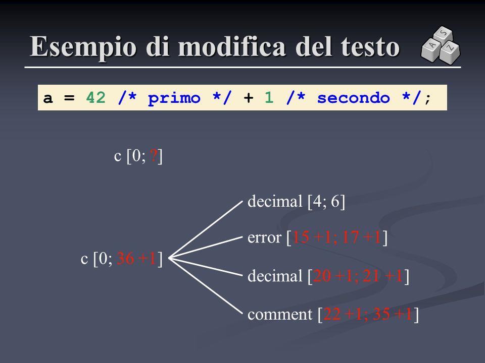Esempio di modifica del testo a = 42 /* primo */ + 1 /* secondo */; c [0; ?] error [15 +1; 17 +1] decimal [4; 6] comment [22 +1; 35 +1] decimal [20 +1