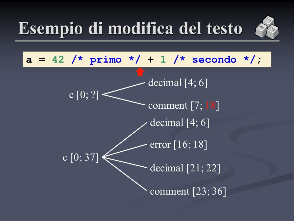 Esempio di modifica del testo a = 42 /* primo */ + 1 /* secondo */; c [0; ?] c [0; 37] error [16; 18] decimal [4; 6] comment [23; 36] decimal [21; 22]