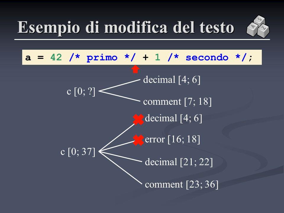 c [0; ?] Esempio di modifica del testo a = 42 /* primo */ + 1 /* secondo */; c [0; 37] error [16; 18] decimal [4; 6] comment [23; 36] decimal [21; 22]