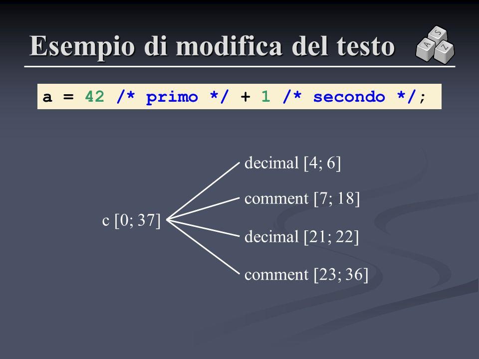 Esempio di modifica del testo a = 42 /* primo */ + 1 /* secondo */; c [0; 37] comment [7; 18] decimal [4; 6] comment [23; 36] decimal [21; 22]