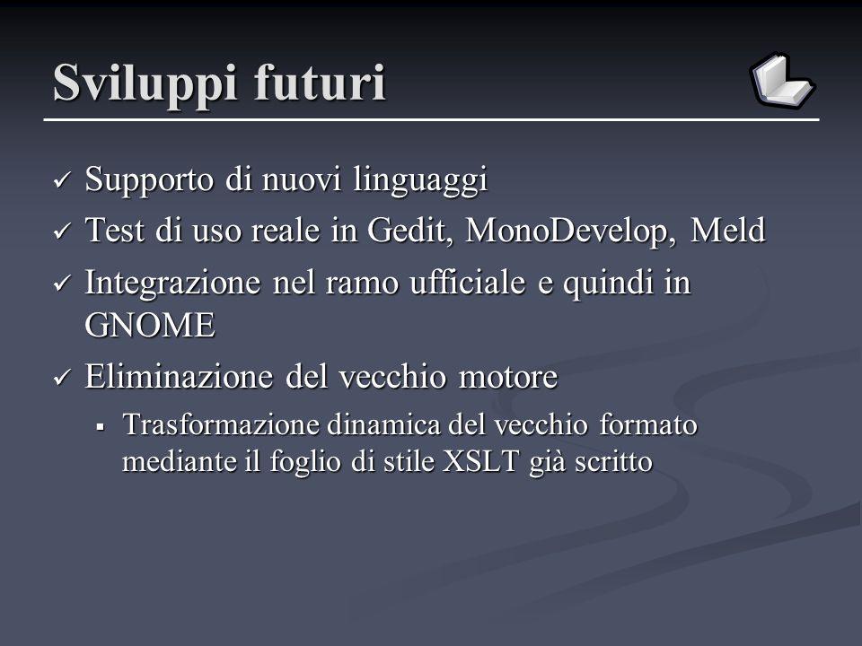 Sviluppi futuri Supporto di nuovi linguaggi Supporto di nuovi linguaggi Test di uso reale in Gedit, MonoDevelop, Meld Test di uso reale in Gedit, Mono