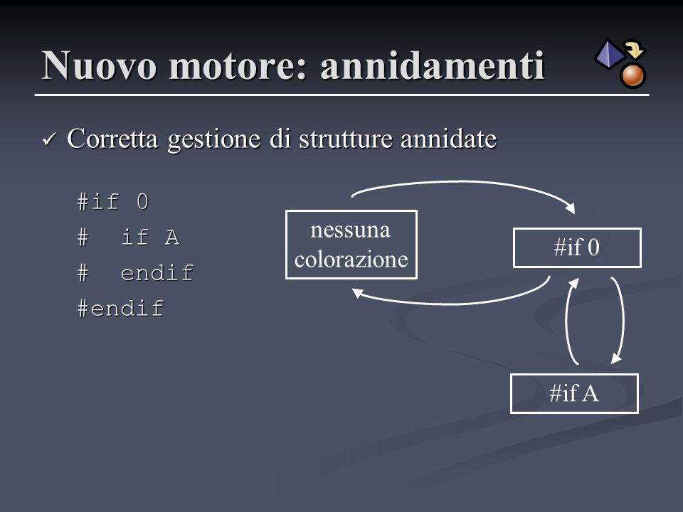 if-in-if0 Esempio di analisi #if 0 # if A # endif #endif /* […] * FIXME * FIXME * […] * […] */ */ cif0if-in-if0 commentfixme if0 fixme comment Stato corrente: c