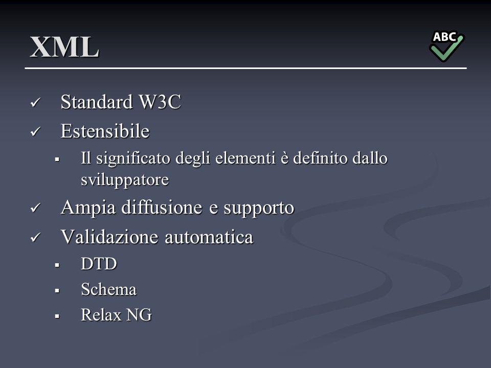 XML Standard W3C Standard W3C Estensibile Estensibile Il significato degli elementi è definito dallo sviluppatore Il significato degli elementi è defi