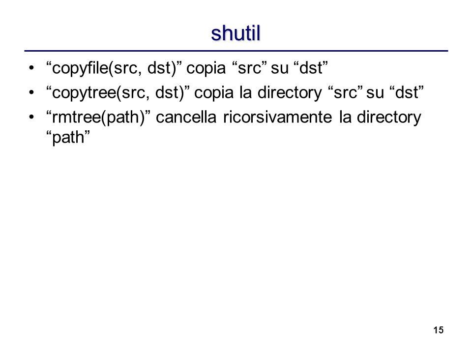15 shutil copyfile(src, dst) copia src su dst copytree(src, dst) copia la directory src su dst rmtree(path) cancella ricorsivamente la directory path