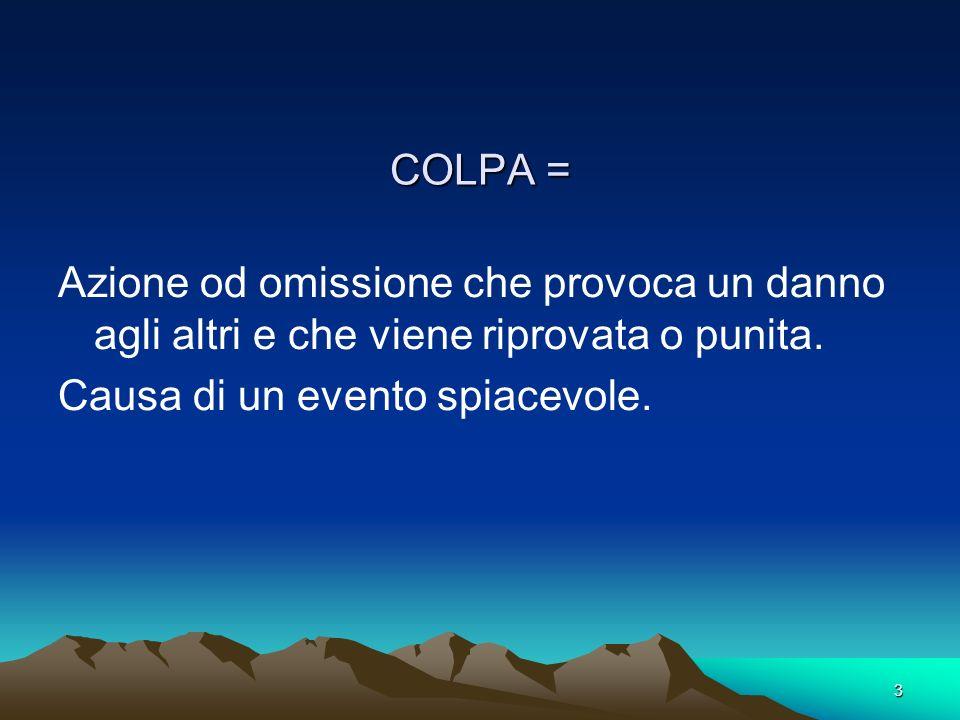 3 COLPA = Azione od omissione che provoca un danno agli altri e che viene riprovata o punita. Causa di un evento spiacevole.