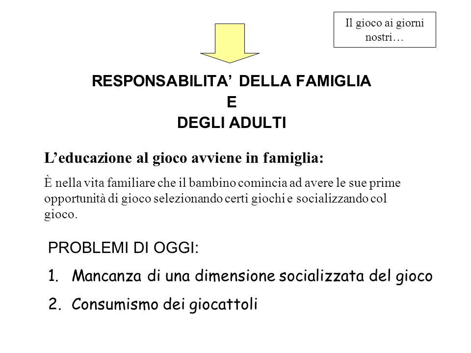 Il gioco ai giorni nostri… RESPONSABILITA DELLA FAMIGLIA E DEGLI ADULTI Leducazione al gioco avviene in famiglia: È nella vita familiare che il bambin