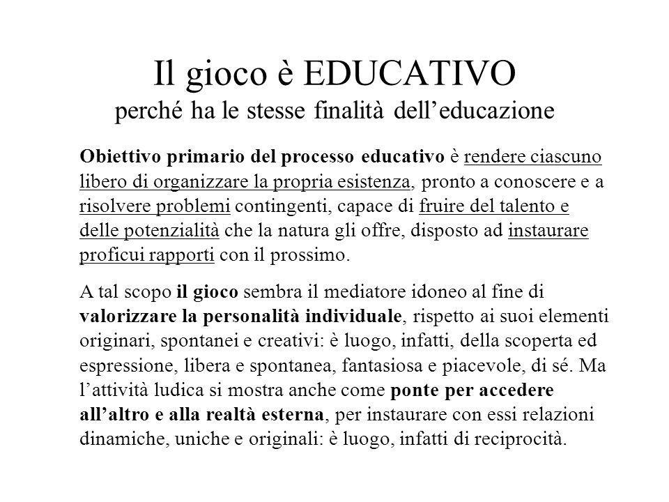 Il gioco è EDUCATIVO perché ha le stesse finalità delleducazione Obiettivo primario del processo educativo è rendere ciascuno libero di organizzare la