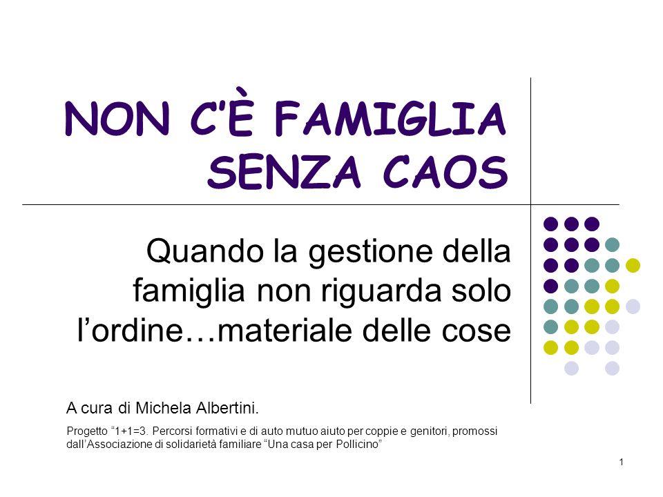 1 NON CÈ FAMIGLIA SENZA CAOS Quando la gestione della famiglia non riguarda solo lordine…materiale delle cose A cura di Michela Albertini.