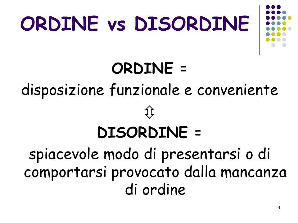 4 ORDINE vs DISORDINE ORDINE = disposizione funzionale e conveniente DISORDINE = spiacevole modo di presentarsi o di comportarsi provocato dalla mancanza di ordine