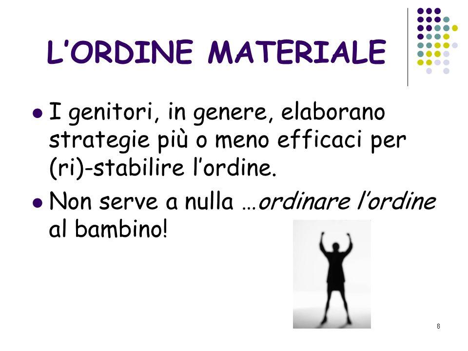 8 LORDINE MATERIALE I genitori, in genere, elaborano strategie più o meno efficaci per (ri)-stabilire lordine.