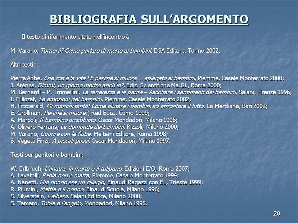 20 BIBLIOGRAFIA SULLARGOMENTO Il testo di riferimento citato nellincontro è M. Varano, Tornerà? Come parlare di morte ai bambini, EGA Editore, Torino