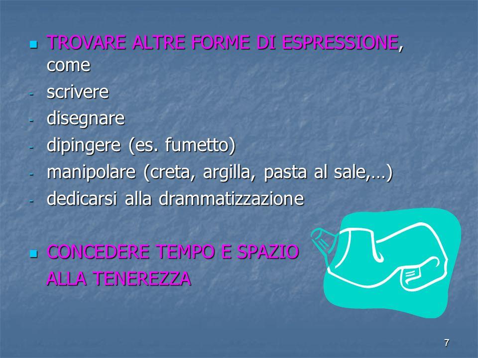 7 TROVARE ALTRE FORME DI ESPRESSIONE, come TROVARE ALTRE FORME DI ESPRESSIONE, come - scrivere - disegnare - dipingere (es.