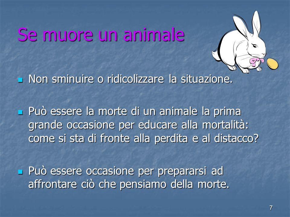 7 Se muore un animale Non sminuire o ridicolizzare la situazione. Non sminuire o ridicolizzare la situazione. Può essere la morte di un animale la pri