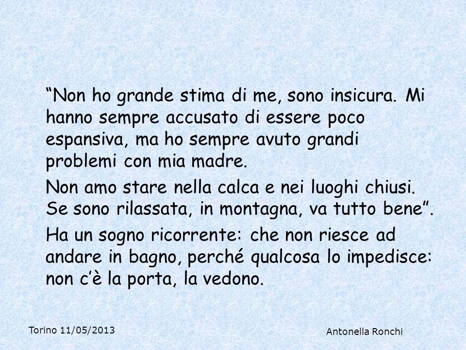Torino 11/05/2013 Antonella Ronchi Non ho grande stima di me, sono insicura.