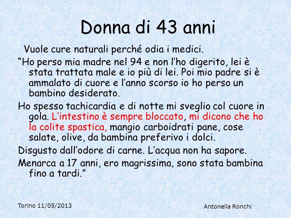 Torino 11/05/2013 Antonella Ronchi Anni fa una reazione linfoghiandolare, passata con 7 mesi di macrobiotica; da bambina spesso linfonodi ingrossati.