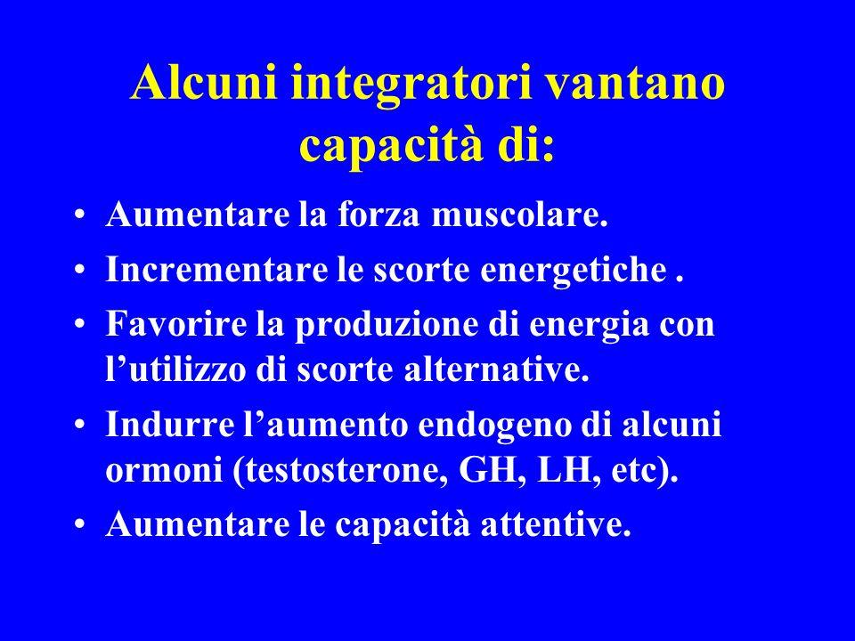Alcuni integratori vantano capacità di: Aumentare la forza muscolare. Incrementare le scorte energetiche. Favorire la produzione di energia con lutili