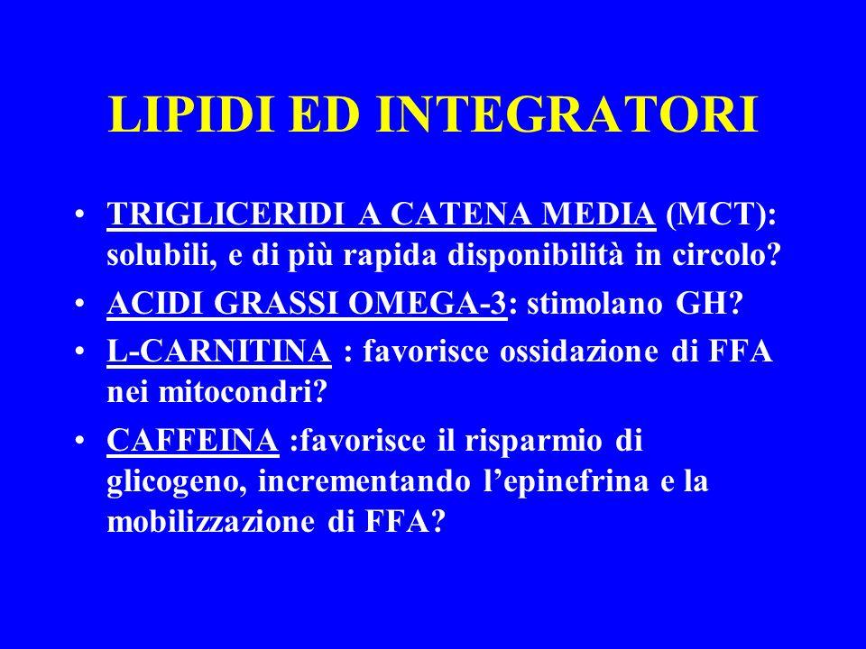 LIPIDI ED INTEGRATORI TRIGLICERIDI A CATENA MEDIA (MCT): solubili, e di più rapida disponibilità in circolo? ACIDI GRASSI OMEGA-3: stimolano GH? L-CAR