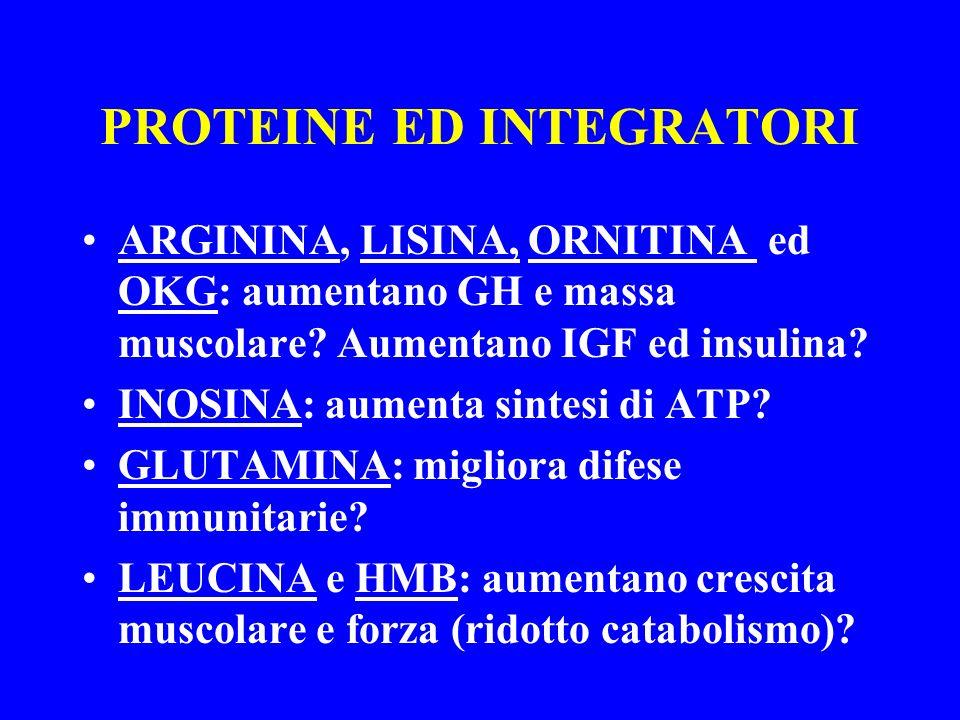 PROTEINE ED INTEGRATORI ARGININA, LISINA, ORNITINA ed OKG: aumentano GH e massa muscolare? Aumentano IGF ed insulina? INOSINA: aumenta sintesi di ATP?