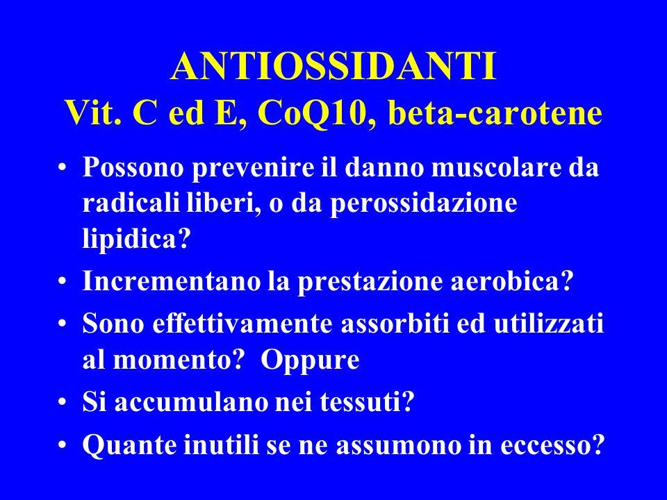 ANTIOSSIDANTI Vit. C ed E, CoQ10, beta-carotene Possono prevenire il danno muscolare da radicali liberi, o da perossidazione lipidica? Incrementano la