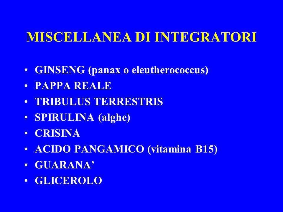 MISCELLANEA DI INTEGRATORI GINSENG (panax o eleutherococcus) PAPPA REALE TRIBULUS TERRESTRIS SPIRULINA (alghe) CRISINA ACIDO PANGAMICO (vitamina B15)
