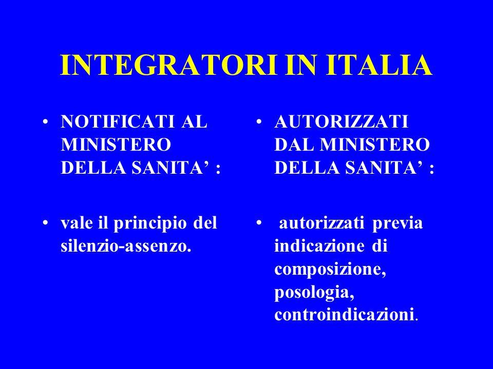 INTEGRATORI IN ITALIA NOTIFICATI AL MINISTERO DELLA SANITA : vale il principio del silenzio-assenzo. AUTORIZZATI DAL MINISTERO DELLA SANITA : autorizz
