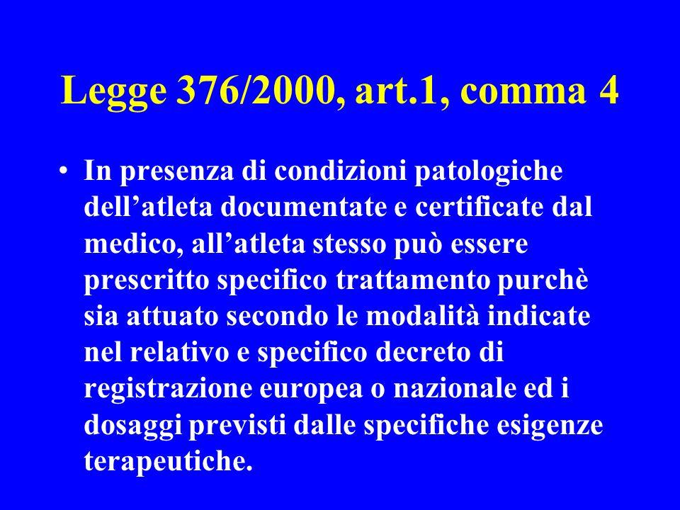 Legge 376/2000, art.1, comma 4 In presenza di condizioni patologiche dellatleta documentate e certificate dal medico, allatleta stesso può essere pres