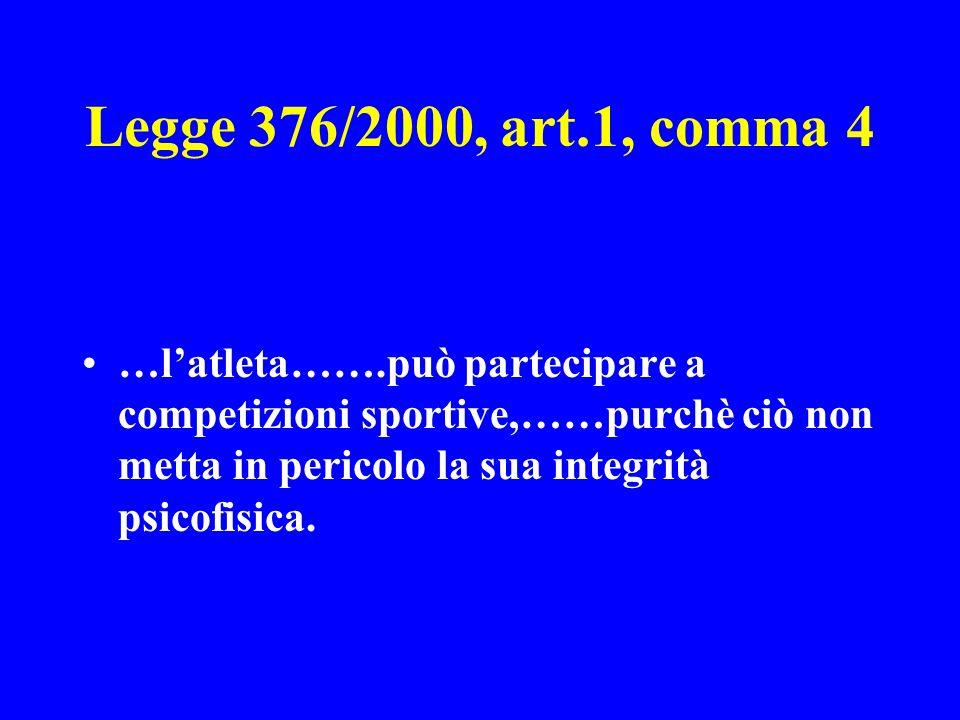 Legge 376/2000, art.1, comma 4 …latleta…….può partecipare a competizioni sportive,……purchè ciò non metta in pericolo la sua integrità psicofisica.