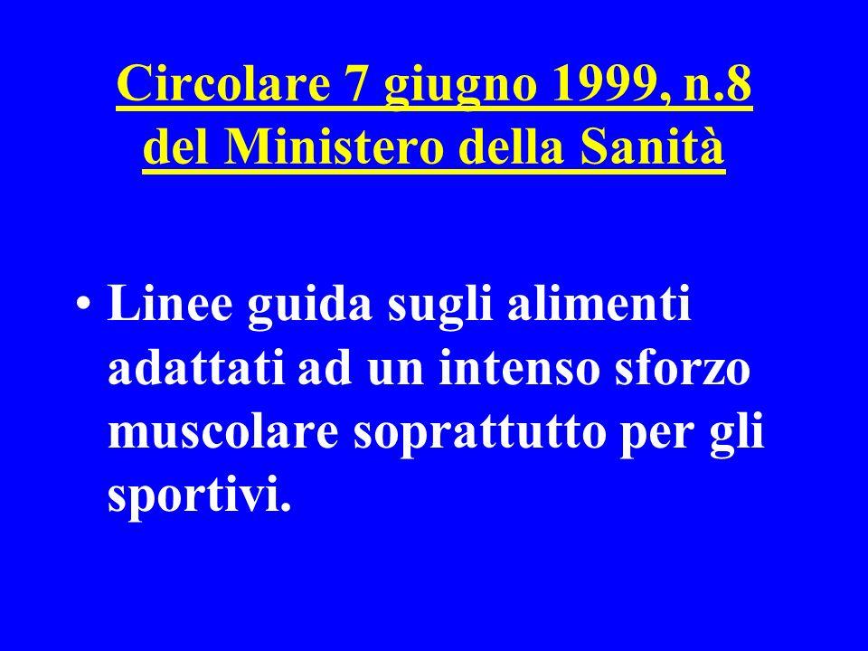 Circolare 7 giugno 1999, n.8 del Ministero della Sanità Linee guida sugli alimenti adattati ad un intenso sforzo muscolare soprattutto per gli sportiv
