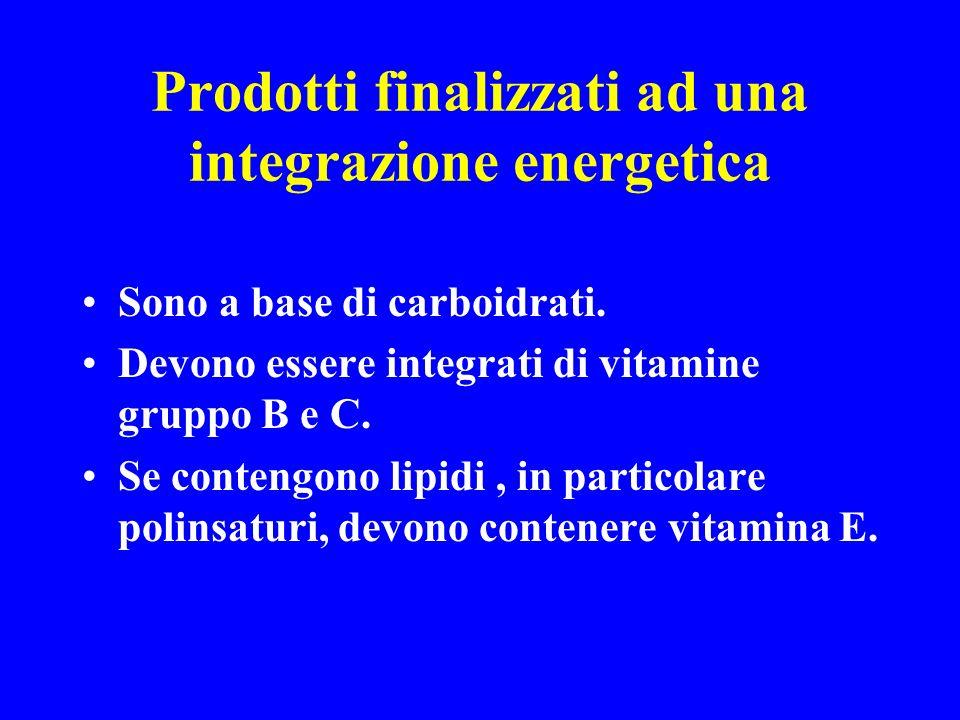 Prodotti finalizzati ad una integrazione energetica Sono a base di carboidrati. Devono essere integrati di vitamine gruppo B e C. Se contengono lipidi