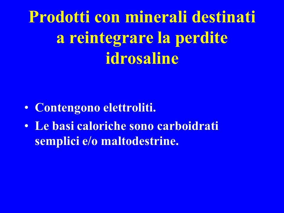 Prodotti con minerali destinati a reintegrare la perdite idrosaline Contengono elettroliti. Le basi caloriche sono carboidrati semplici e/o maltodestr