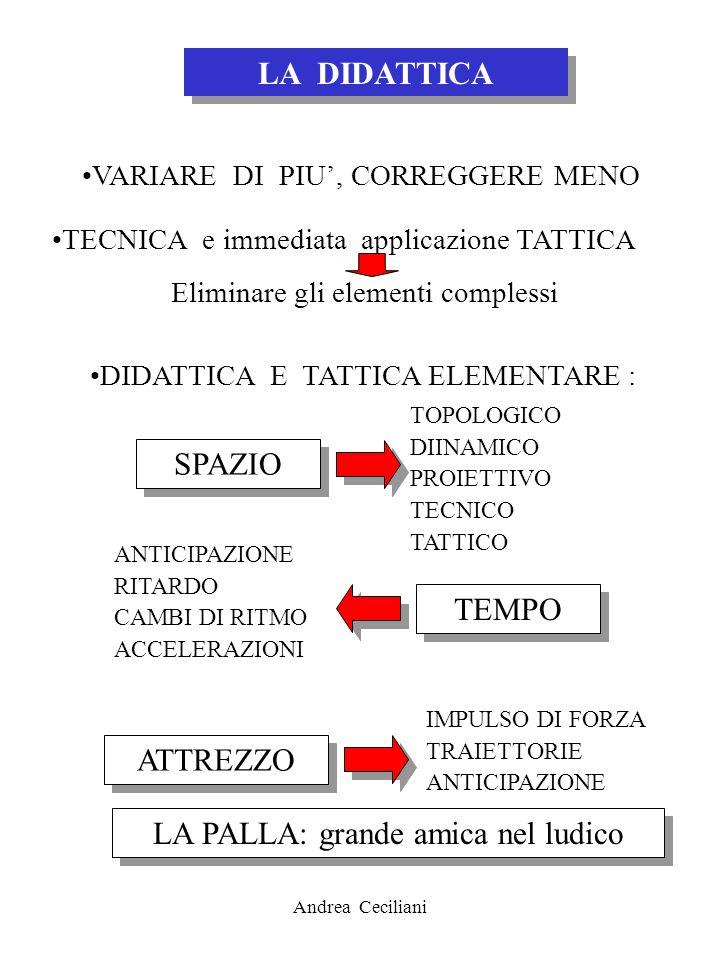 Andrea Ceciliani LA DIDATTICA VARIARE DI PIU, CORREGGERE MENO TECNICA e immediata applicazione TATTICA Eliminare gli elementi complessi DIDATTICA E TA