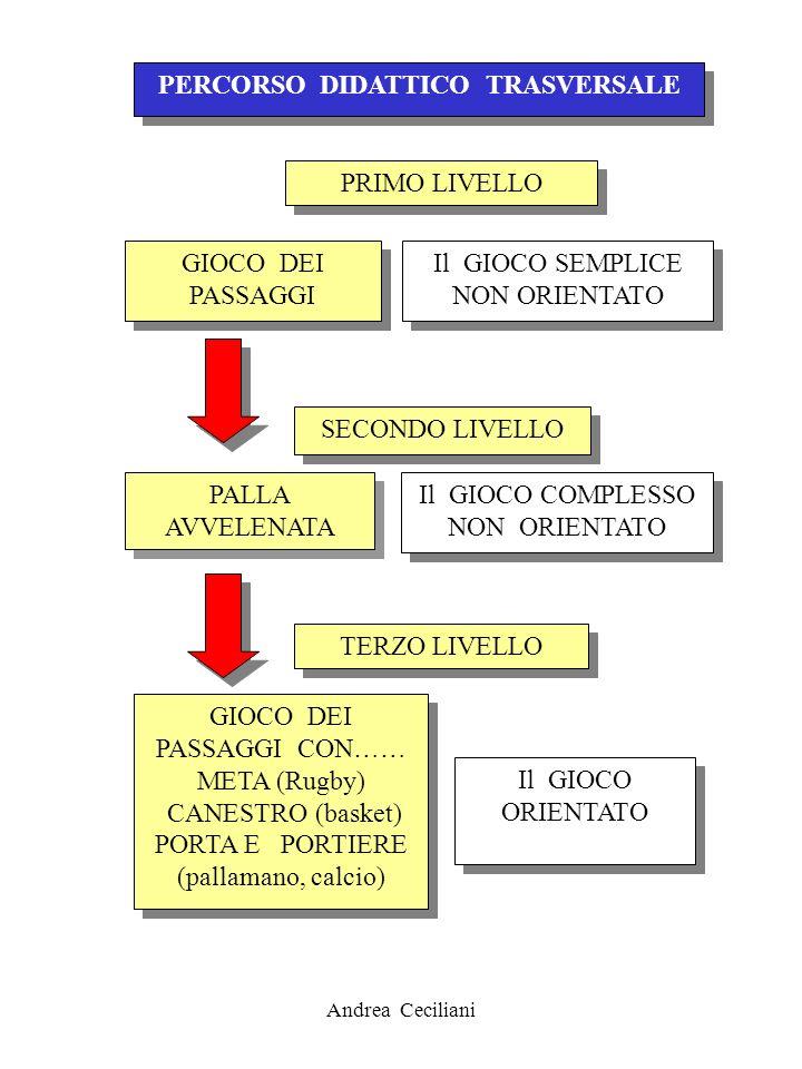 Andrea Ceciliani PERCORSO DIDATTICO TRASVERSALE PRIMO LIVELLO Il GIOCO SEMPLICE NON ORIENTATO GIOCO DEI PASSAGGI SECONDO LIVELLO Il GIOCO COMPLESSO NO