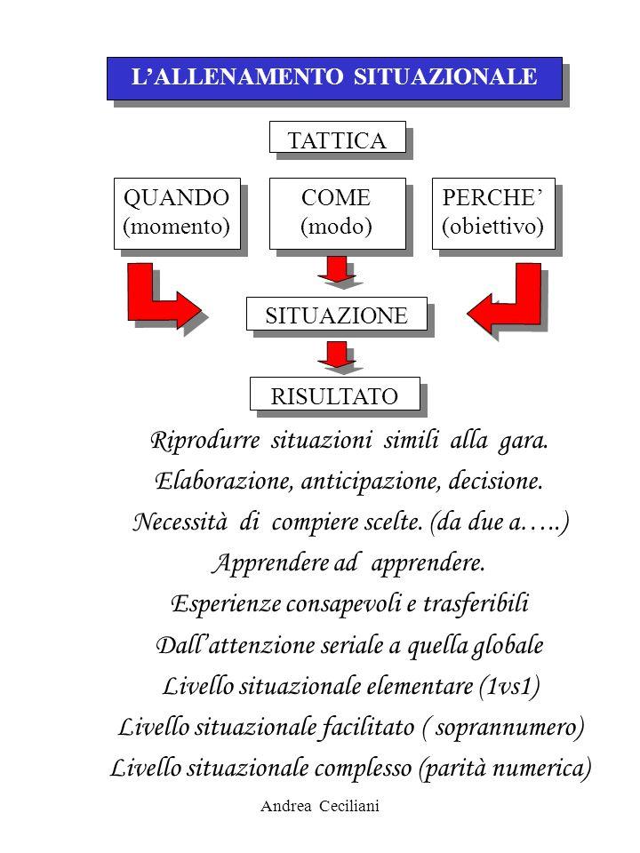 Andrea Ceciliani LALLENAMENTO SITUAZIONALE TATTICA PERCHE (obiettivo) PERCHE (obiettivo) COME (modo) COME (modo) RISULTATO SITUAZIONE QUANDO (momento)