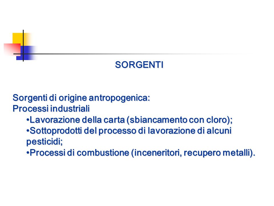 SORGENTI Sorgenti di origine antropogenica: Processi industriali Lavorazione della carta (sbiancamento con cloro); Sottoprodotti del processo di lavor