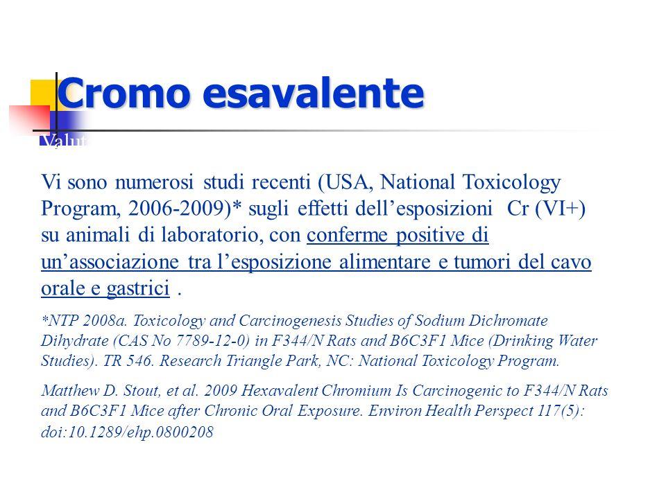 Cromo esavalente Valutazioni epidemiologiche e tossicologiche: Vi sono numerosi studi recenti (USA, National Toxicology Program, 2006-2009)* sugli eff