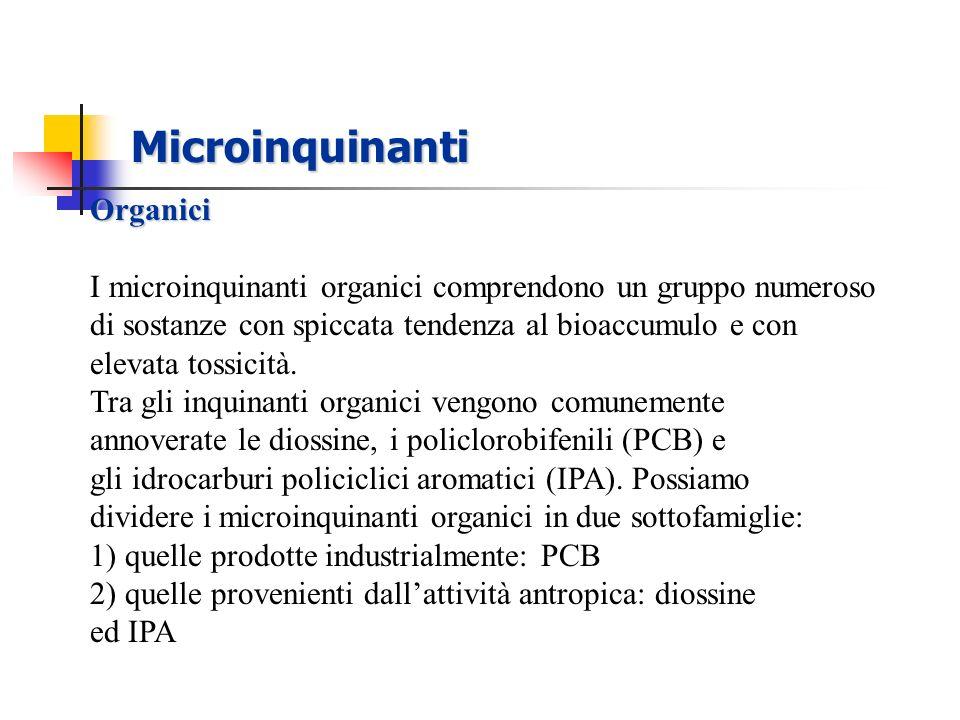 Microinquinanti Organici I microinquinanti organici comprendono un gruppo numeroso di sostanze con spiccata tendenza al bioaccumulo e con elevata toss