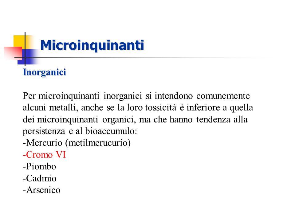 Microinquinanti Inorganici Per microinquinanti inorganici si intendono comunemente alcuni metalli, anche se la loro tossicità è inferiore a quella dei