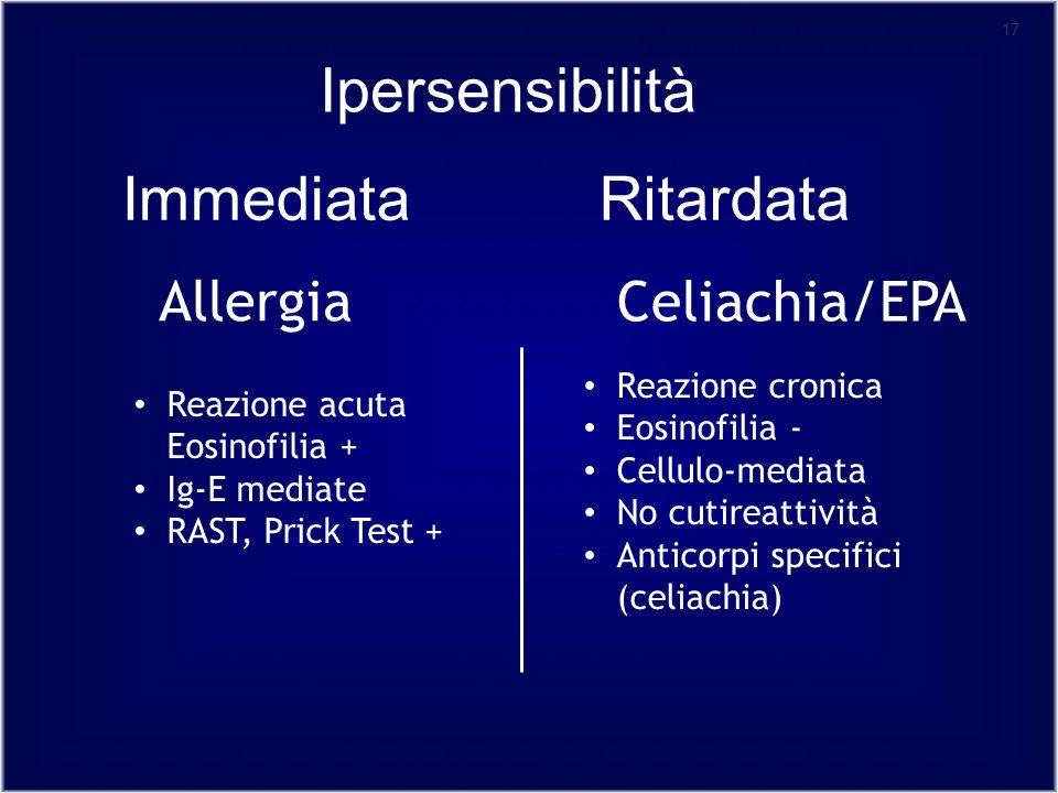 17 Allergia Reazione acuta Eosinofilia + Ig-E mediate RAST, Prick Test + Celiachia/EPA Reazione cronica Eosinofilia - Cellulo-mediata No cutireattività Anticorpi specifici (celiachia) Ipersensibilità RitardataImmediata