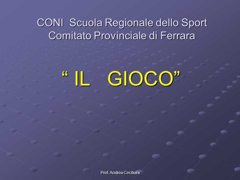 Prof. Andrea Ceciliani CONI Scuola Regionale dello Sport Comitato Provinciale di Ferrara IL GIOCO IL GIOCO