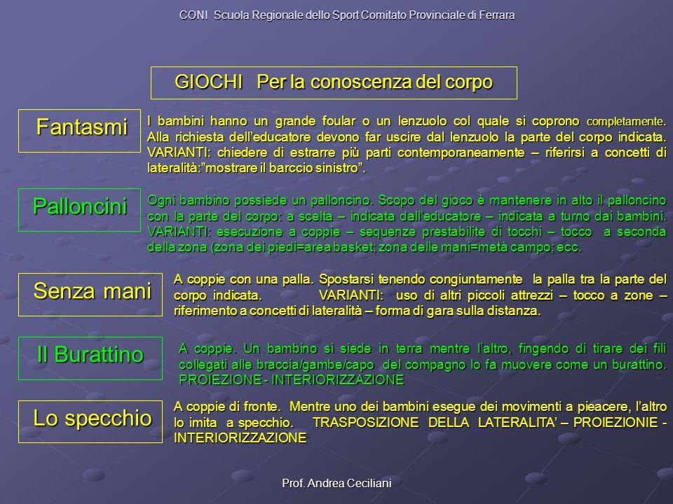 Prof. Andrea Ceciliani GIOCHI Per la conoscenza del corpo Fantasmi Fantasmi I bambini hanno un grande foular o un lenzuolo col quale si coprono comple