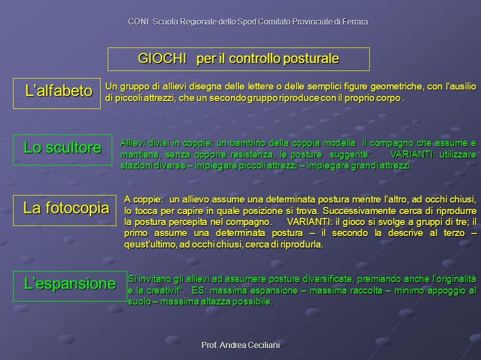 Prof. Andrea Ceciliani GIOCHI per il controllo posturale Lalfabeto Lalfabeto Un gruppo di allievi disegna delle lettere o delle semplici figure geomet