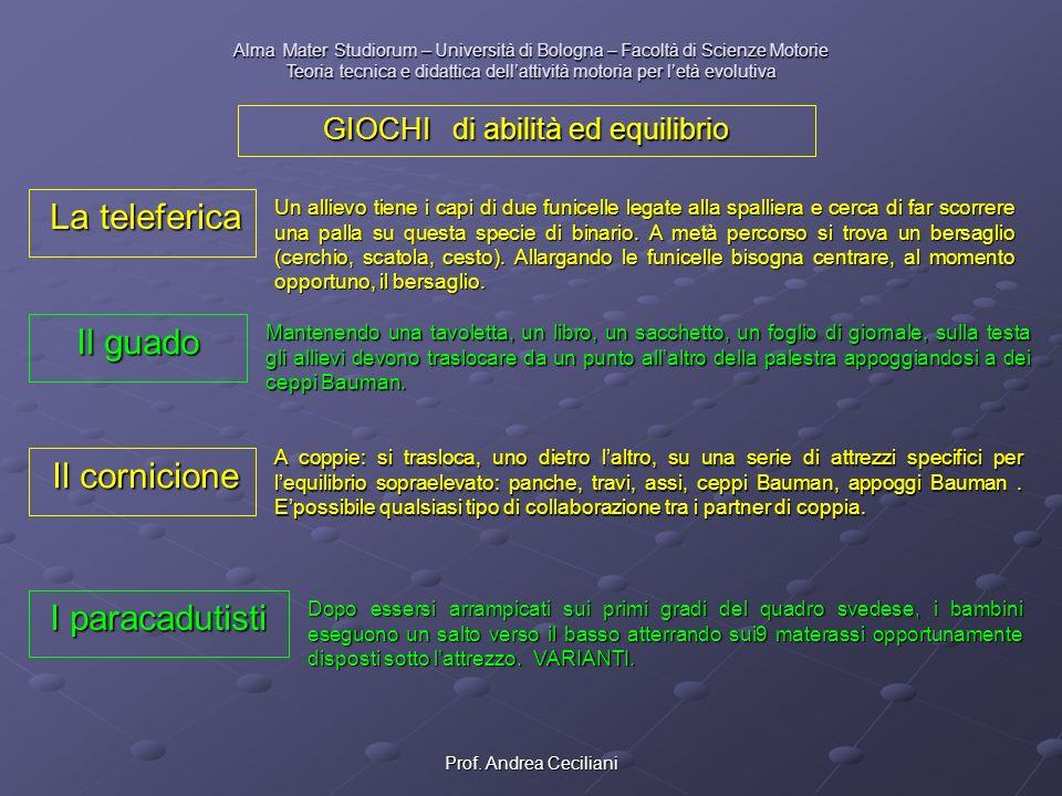 Prof. Andrea Ceciliani Alma Mater Studiorum – Università di Bologna – Facoltà di Scienze Motorie Teoria tecnica e didattica dellattività motoria per l