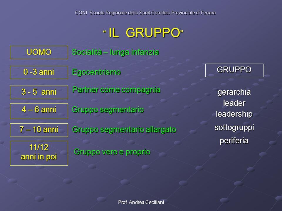 Prof. Andrea Ceciliani IL GRUPPO IL GRUPPO UOMO 0 -3 anni 3 - 5 anni 7 – 10 anni 11/12 anni in poi 4 – 6 anni Egocentrismo Socialità – lunga infanzia