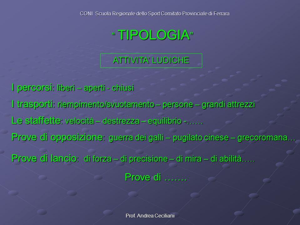 Prof. Andrea Ceciliani ATTIVITA LUDICHE I percorsi : liberi – aperti - chiusi I trasporti : riempimento/svuotamento – persone – grandi attrezzi Prove