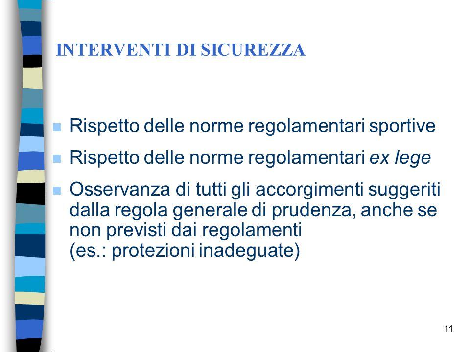 10 FATTORI DI RISCHIO - 3° Gruppo (Spettatori) Non si applica il concetto di rischio sportivo. Allo spettatore di qualsiasi manifestazione sportiva no