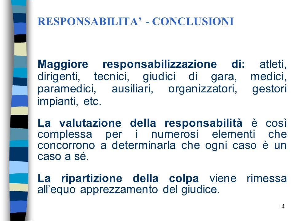 13 INTERVENTI DI SICUREZZA Le clausole di esonero della responsabilità sottoscritta dai partecipanti a vario titolo alla manifestazione sportiva sono
