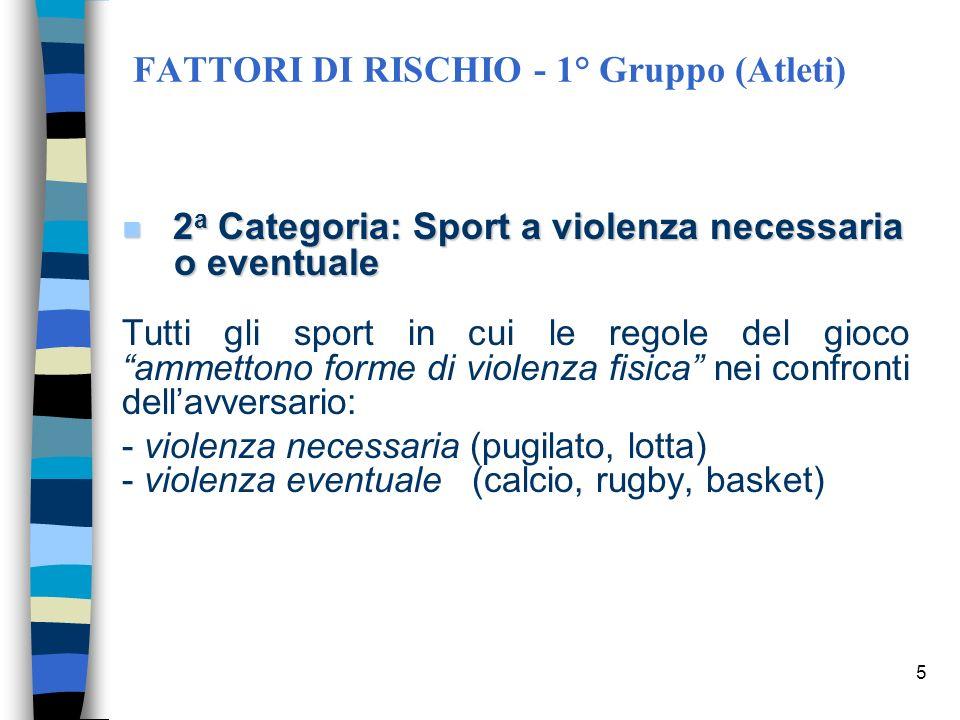 4 FATTORI DI RISCHIO - 1° Gruppo (Atleti) 1 a Categoria: Sport non violenti 1 a Categoria: Sport non violenti Tutti gli sport in cui le regole del gio