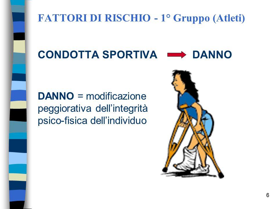 5 FATTORI DI RISCHIO - 1° Gruppo (Atleti) 2 a Categoria: Sport a violenza necessaria 2 a Categoria: Sport a violenza necessaria o eventuale o eventual