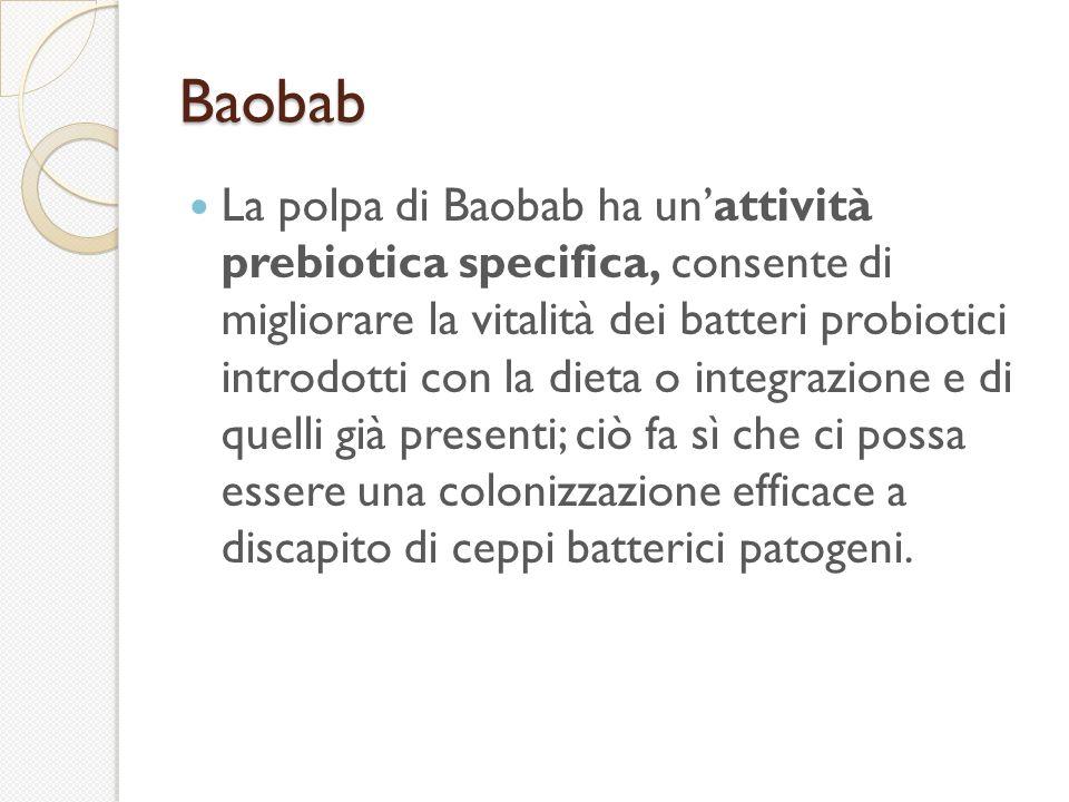 Baobab La polpa di Baobab ha unattività prebiotica specifica, consente di migliorare la vitalità dei batteri probiotici introdotti con la dieta o integrazione e di quelli già presenti; ciò fa sì che ci possa essere una colonizzazione efficace a discapito di ceppi batterici patogeni.