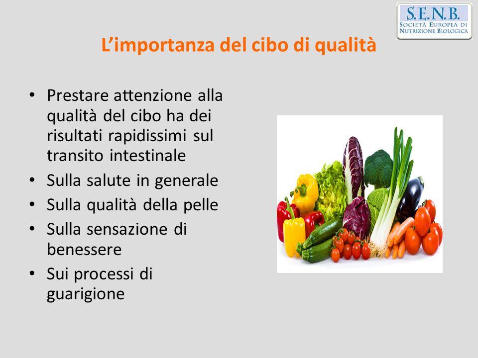 Limportanza del cibo di qualità Prestare attenzione alla qualità del cibo ha dei risultati rapidissimi sul transito intestinale Sulla salute in genera